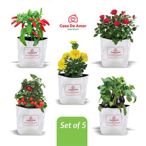 Casa De Amor Plastic Poly Grow Bags (49 x 28 x 28 cm, White, 5-Pieces)