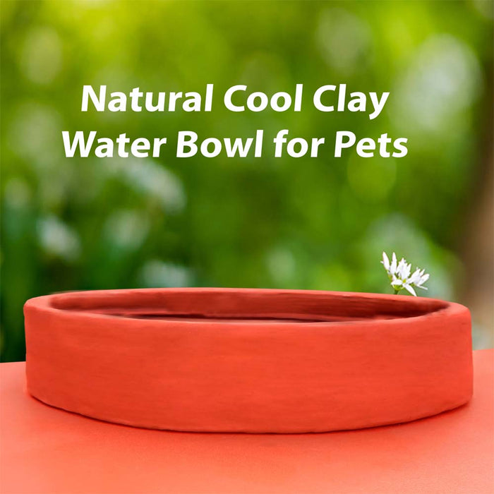Natural Cool Clay Water Bowl for Pets - Cats, Dogs, Rabits etc.