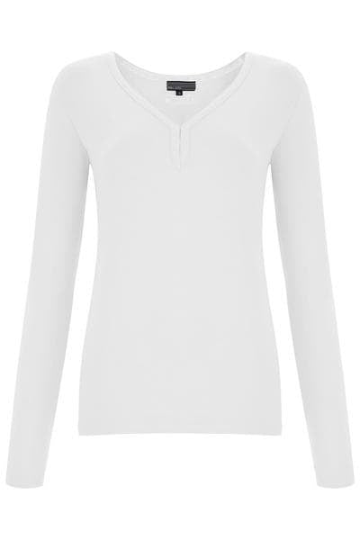 Bamboo V Neck Embroidery Long Sleeve Top - Fresh White