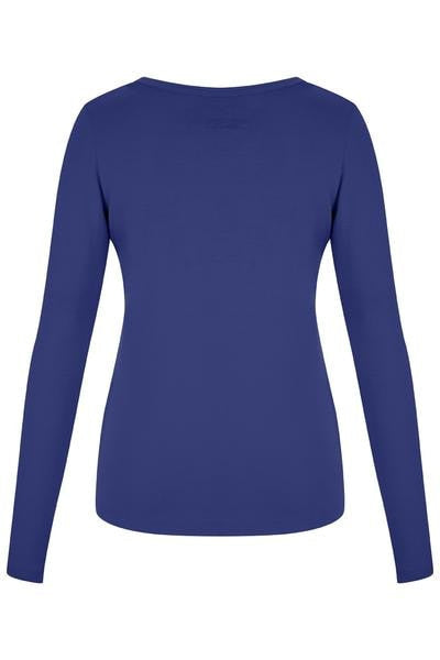 Bamboo V Neck Embroidery Long Sleeve Top - Royal Blue