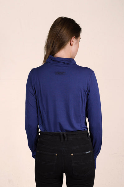 V Neck Panel Long Sleeve Top - Viscose Super Soft - Royal Navy