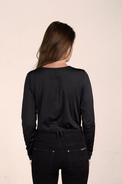 V Neck Panel Long Sleeve Top - Viscose SuperSoft - Midnight Black