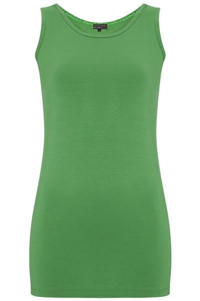 Bamboo Round Neck Long Body Tank - Summer Jade