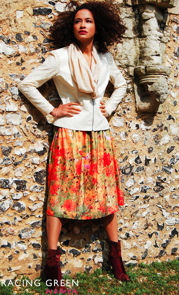 Racing Green - Garden Tea Skirt - Orange