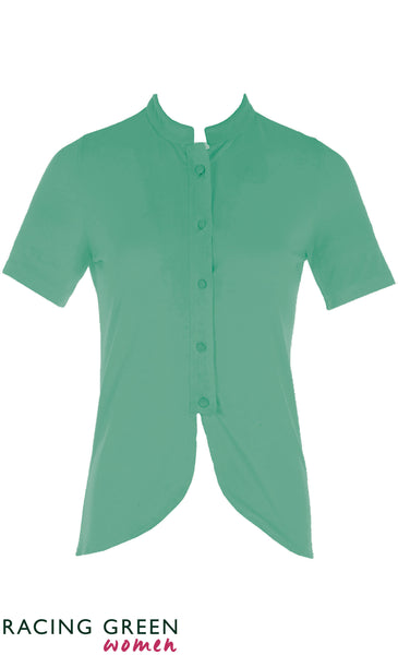 Racing Green - Mandarin Collar Button Jersey Shirt - Bright Green