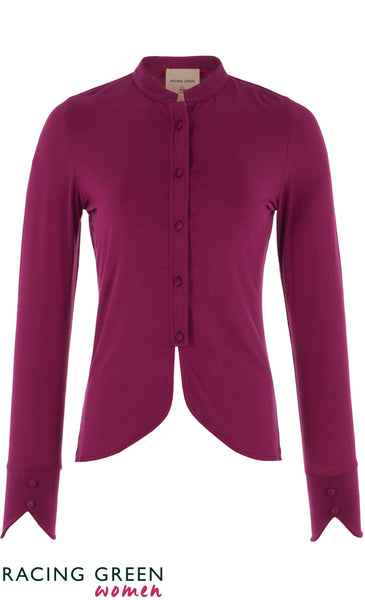 Racing Green - Mandarin Collar Button Jersey Shirt - Dark Pink