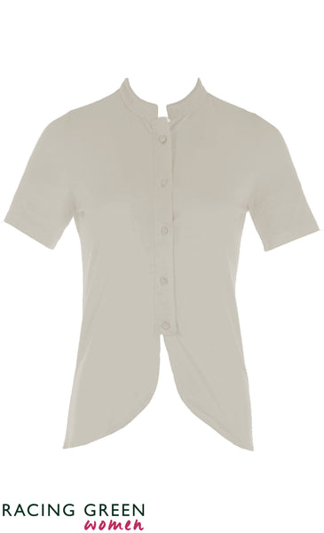 Racing Green - Mandarin Collar Button Jersey Shirt - Ivory