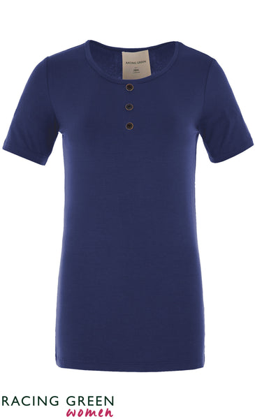 Racing Green - Three Button Tee - Pavillion Blue