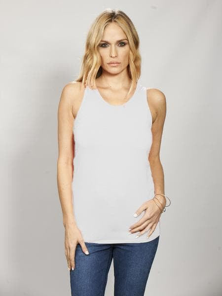 Bamboo Round Neck Long Body Tank - Fresh White
