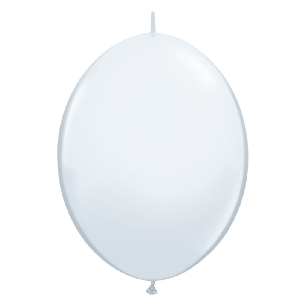 White Link-O-Loon Latex Balloon 30cm