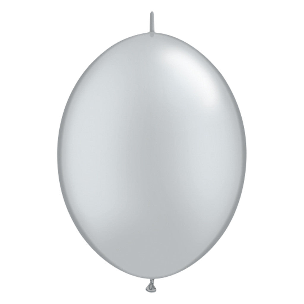 Silver Link-O-Loon Latex Balloon 30cm