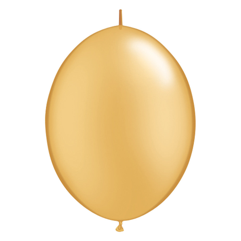 Gold Link-O-Loon Latex Balloon 30cm