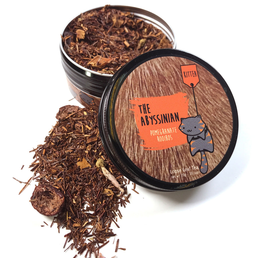 25g tin can of Abyssinian Rooibos loose leaf tea with pomegranate and cranberries