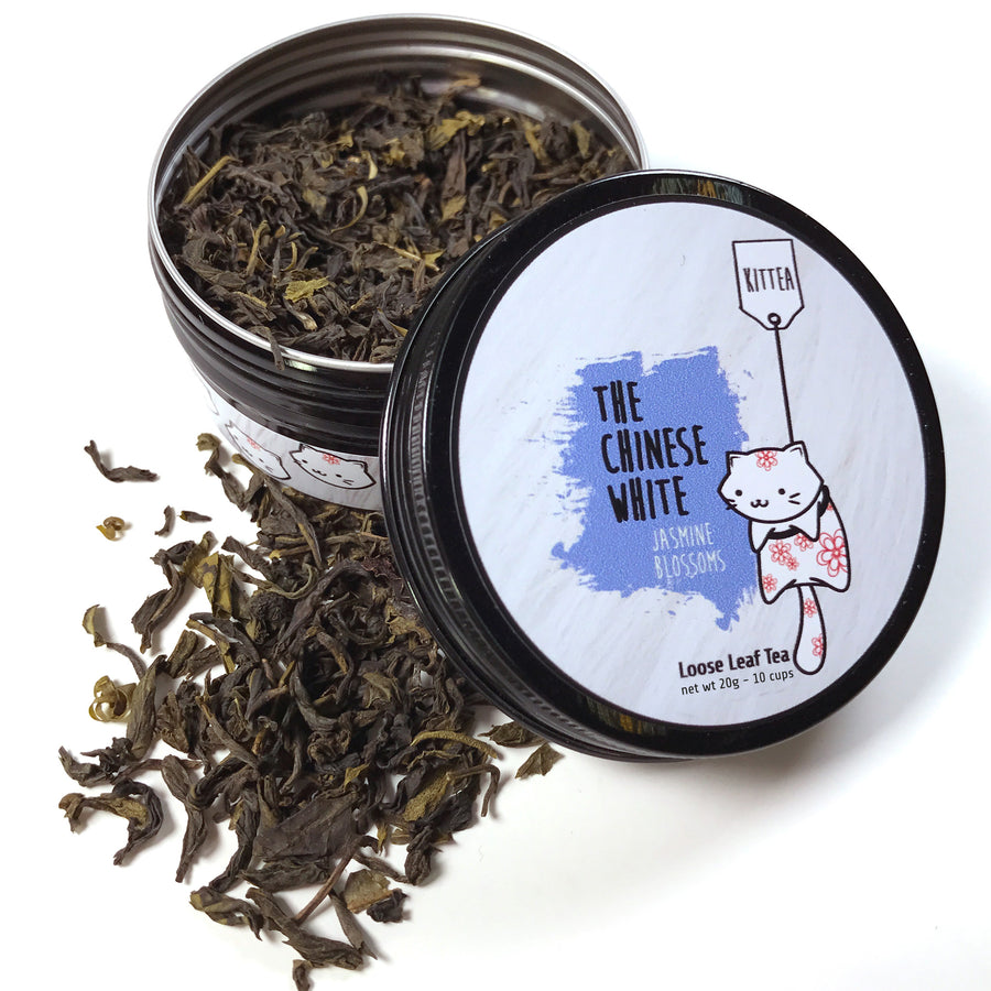 20g tea tin of lightly fragrant Chinese White loose leaf jasmine green tea