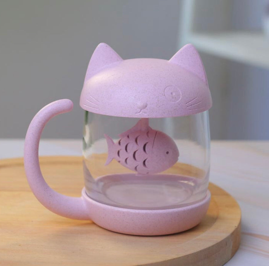 Cat Glass Mug with Fishie Tea Infuser ...BUT PINK!