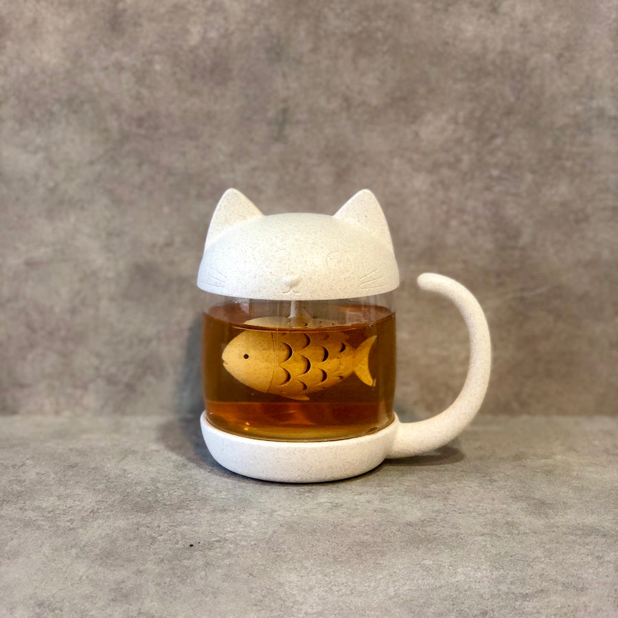 Cat Glass Mug with Fishie Tea Diffuser - Kittea