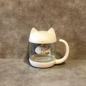 Cat Glass Mug with Fishie Tea Diffuser