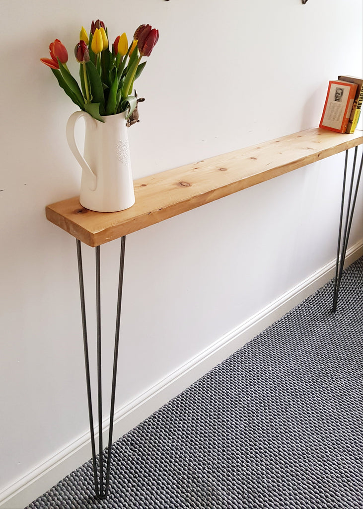 Narrow Rustic Pine Console Table With Hairpin Legs