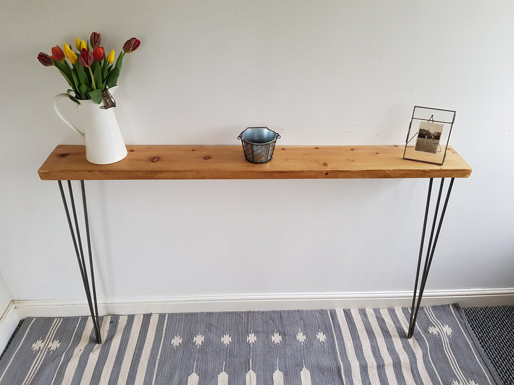 Amazing Narrow Rustic Console Table With Hairpin Legs Slimline Hall Table Narrow Hallway Table 40 X 20 Legs 71 Home Interior And Landscaping Ymoonbapapsignezvosmurscom
