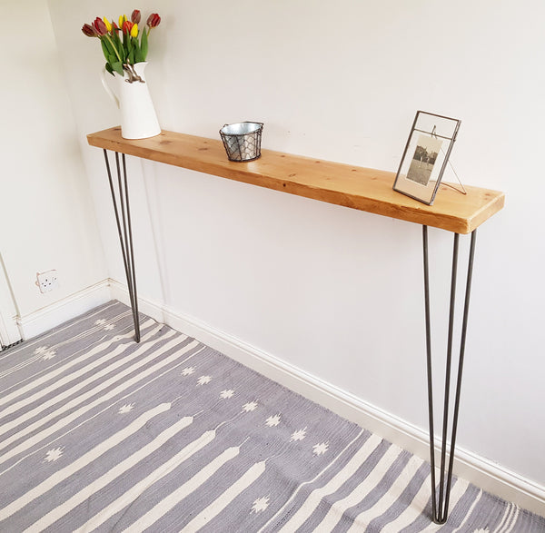 Narrow Rustic Console Table With Hairpin Legs Slimline