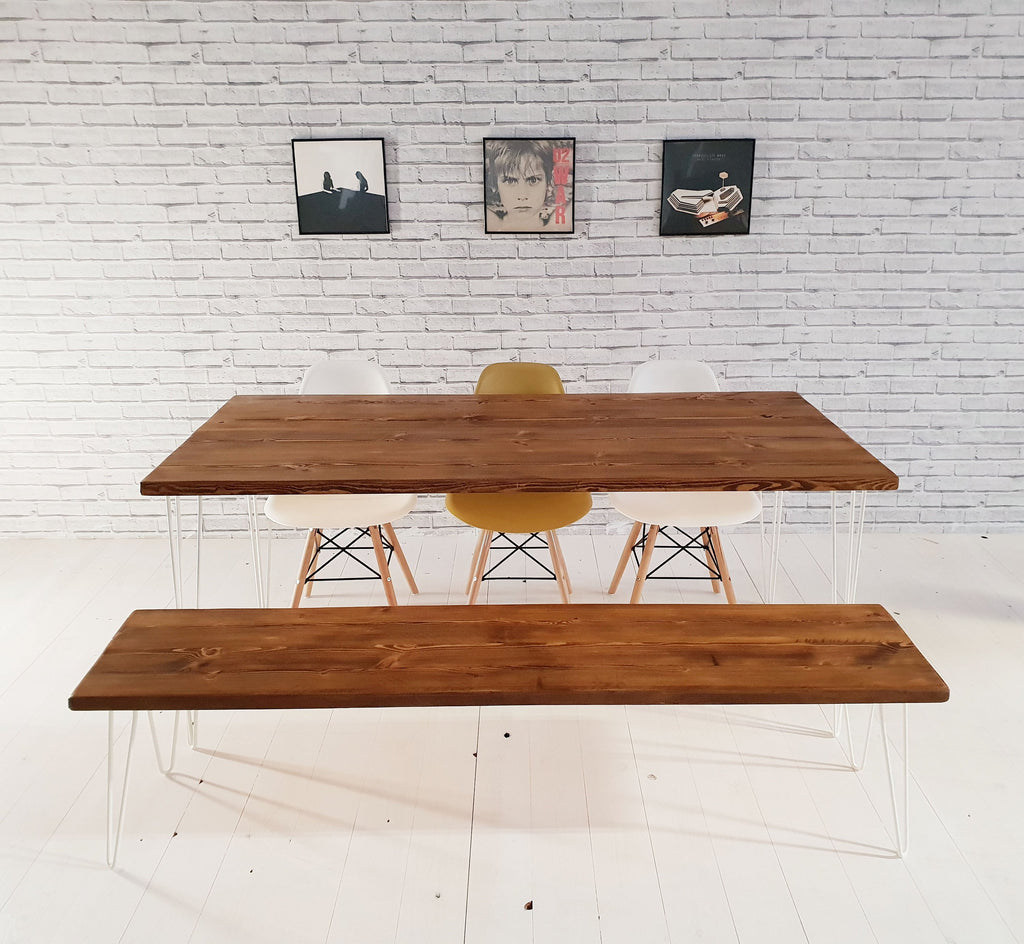 Rustic Kitchen Table With Benches That Can Slide: Rustic Kitchen Dining Bench Industrial Style Bench Vintage