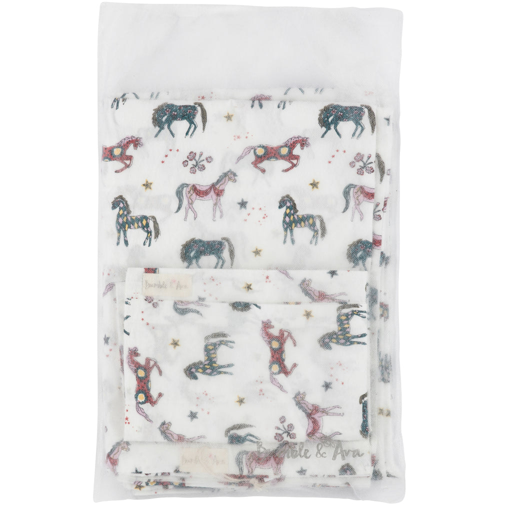White Horse Cot Bed Duvet Cover & Pillow Case Set