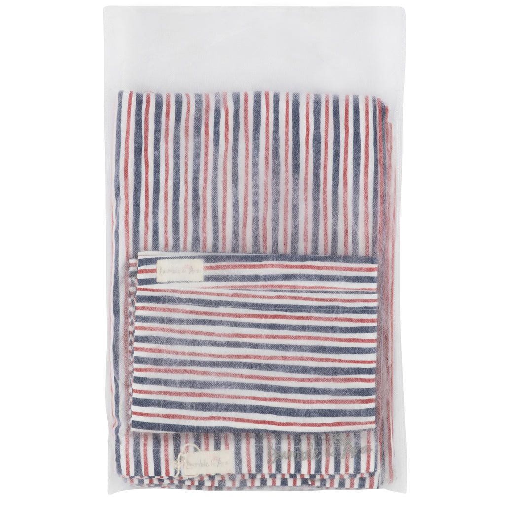 Red/Blue Striped Child's Bed Duvet Cover & Pillow Case Set