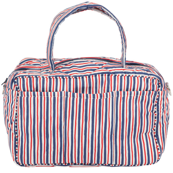 Red and Blue Striped Travel Bag