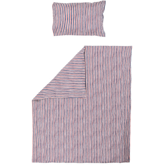 Red and Blue Striped Child's Bed Duvet Cover & Pillow Case Set