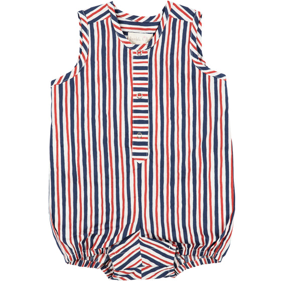 Red and Blue Striped Baby Playsuit