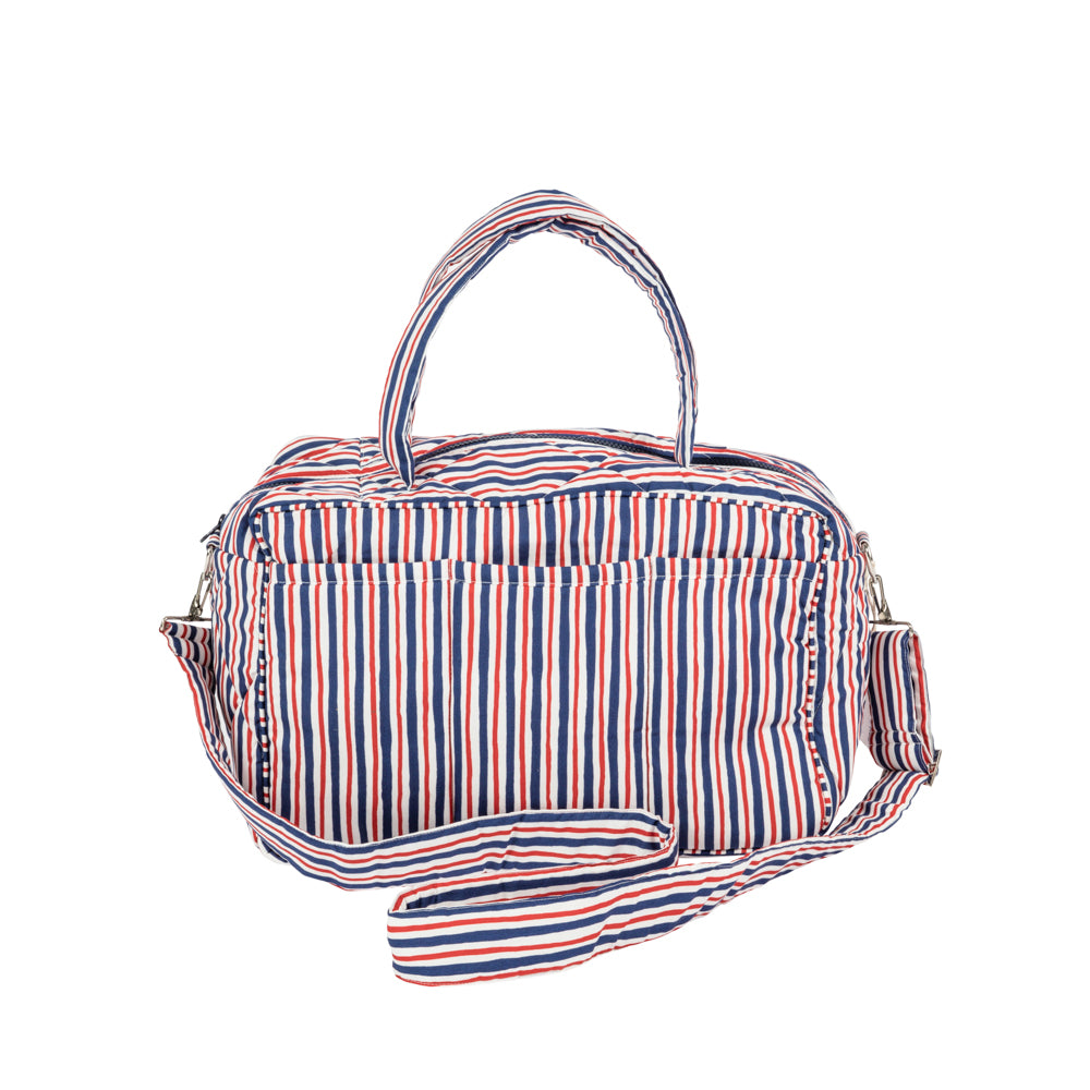 Red/Blue Striped Travel Bag