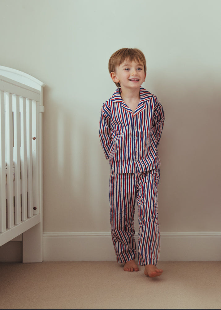 Red and Blue Striped Pyjama Set