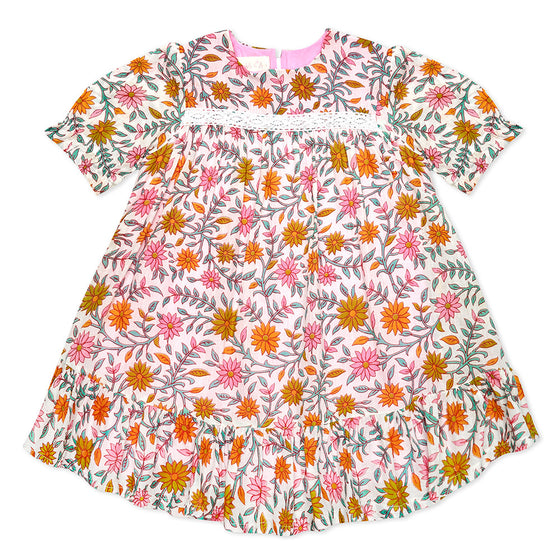 Orange/Pink Short Sleeve Ava Dress