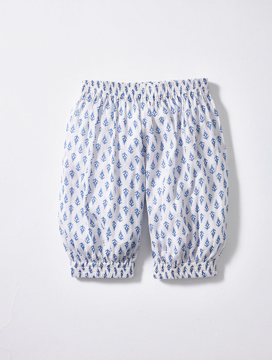 White and Blue Print Pantaloons