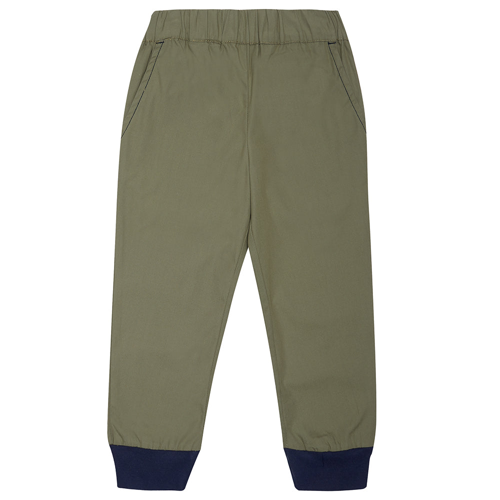 Khaki/Olive green Bertie Trousers with Navy Cuffs