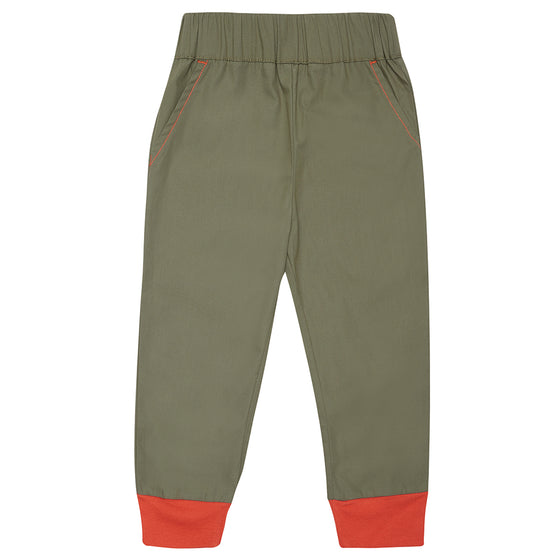 Khaki/Olive green Bertie Trousers with Orange Cuffs