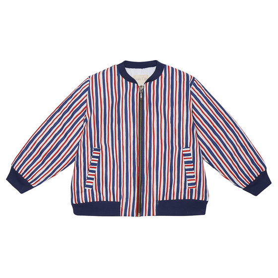 Red and Blue Striped Bay Bomber Jacket