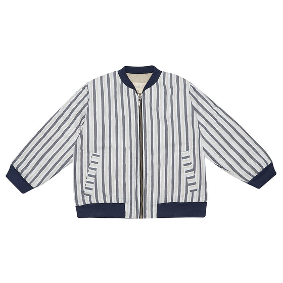 Grey Stripe Bay Bomber Jacket