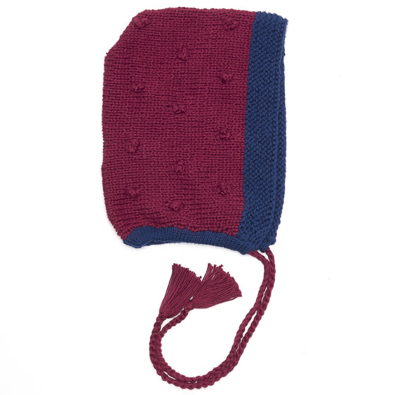 Organic Cotton Burgundy/ Navy Bonnet