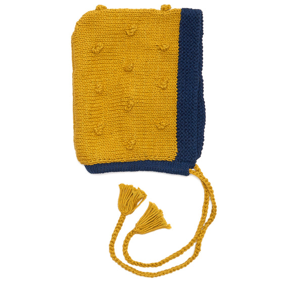 Organic Cotton Mustard/ Navy Bonnet