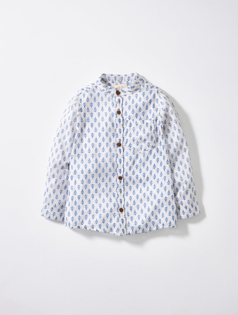 White and  Blue Print Boys Shirt