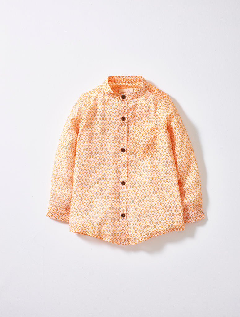 Orange Print Boys Shirt