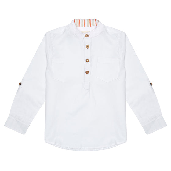 White Arlo Boys Shirt with Coral Stripe Detail