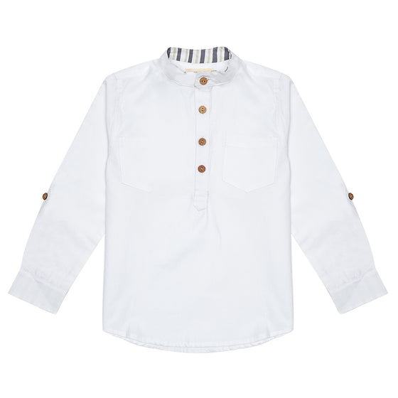 White Arlo Boys Shirt with Grey Stripe Detail