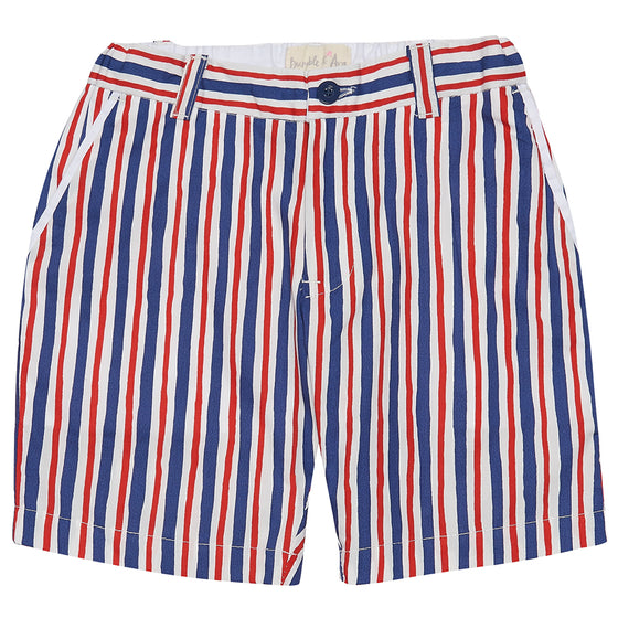 Red and Blue Stripe Boys Shorts
