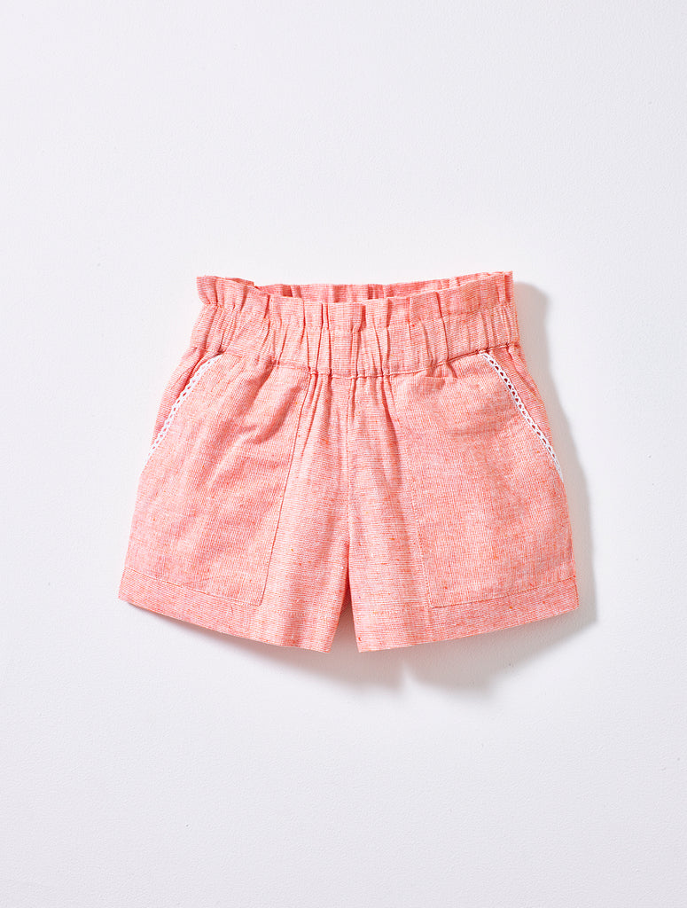 Coral Weave Ruffle Shorts