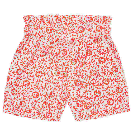 Orange Flower Girls Summer Shorts