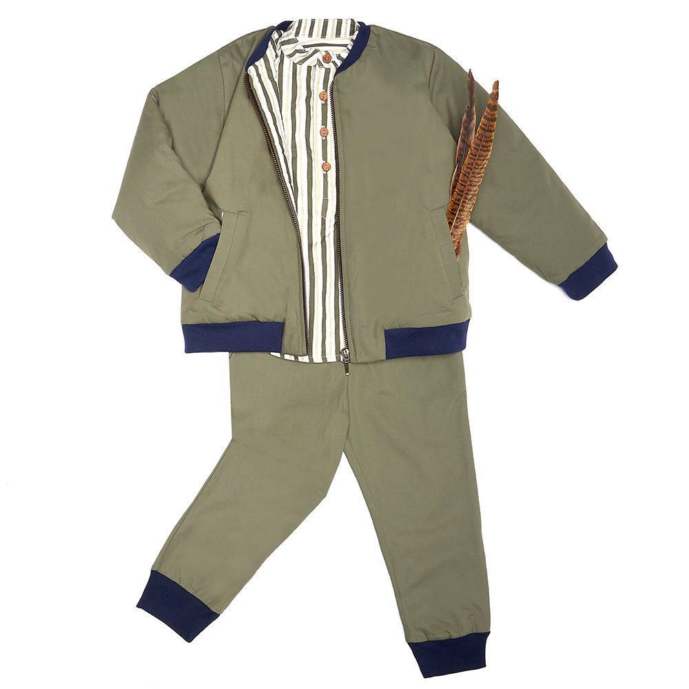 Green Stripe Arlo Boys Shirt