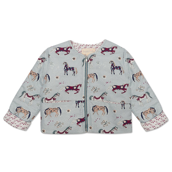 Grey Horse Print Girls Padded Jacket