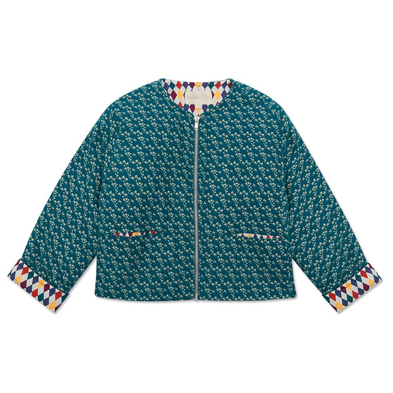 Teal Star Girls Padded Jacket with Harlequin lining